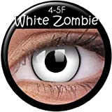 Farbige Kontaktlinsen MIT STÄRKE crazy Kontaktlinsen crazy contact lenses 'Dämon' White Zombie Weiss mit schwarzem Rand 1 Paar mit Kontaktlinsenbehälter.