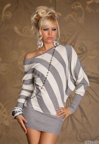 Sexy Strick Minikleid Damen Kleid Einheitsgröße Gr. 34 36 38 in Grau Weiß