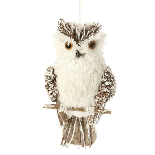Brown & White Sisal Owl Christmas Ornament