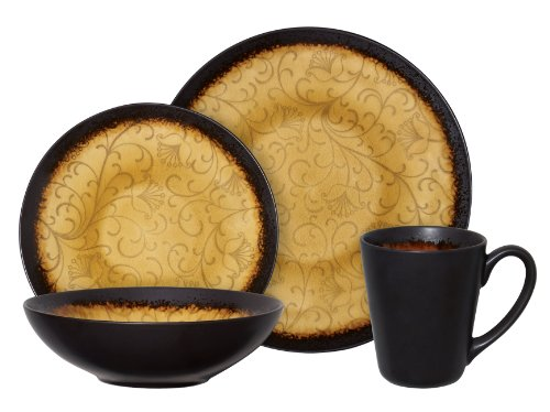 Gibson Bonham 16-Piece Reactive Glaze Stoneware Dinnerware Set, Amber