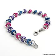 Bi pride bracelet chainmaille bracelet bisexual jewelry barrel weave chainmaille; pink purple blue
