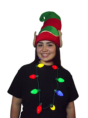 Christmas Elf Hat with Ears & Light Up Bulb Necklace