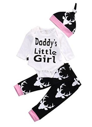 Baby-Girls-Daddys-Little-Girl-Long-Sleeve-Bodysuit-and-Deer-Pants-Outfit-with-Hat-3-6M-WhiteBlack