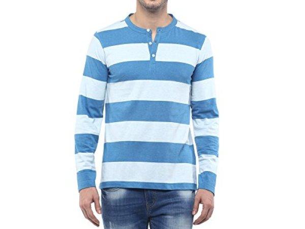 American Crew Men's Henley Stripes T-Shirt (Sky Blue & Blue Melange)