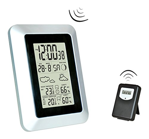 Wireless Weather Station,Toprime®Indoor/Outdoor Wireless Digital Home Weather Forecaster Station with Thermometer, Humidity, Weather Forecast, Clock, and More,Gray