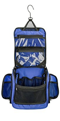 Neatpack-Medium-Size-Hanging-Nylon-Toiletry-Bag-Organizer-with-Detachable-TSA-Compliant-Zipper-Pocket-and-Swivel-Style-Hook-Blue