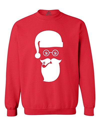 Shop4Ever Santa Claus Smoking Weed Crewnecks Christmas Sweatshirts Medium Red 0