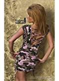 5773 - FIORENTE: Minikleid, Rückenfrei, Camouflage Rosa
