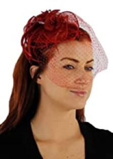 Charisma Sinamay Fascinator Cocktail Hat with Netting (Red)
