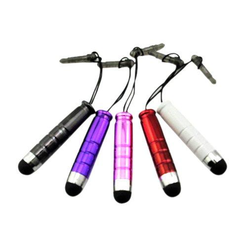 SODIALR 5本セット samsung galaxy note 3 iphone 5 など用各種に対応 ペン スマホスタイラスペン タッチペン イヤホンジャック黒、紫、ピンク、赤、白