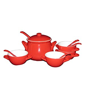 sengWare Limited Edition 11-Piece Tureen and French Bowls Set, Red