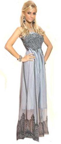 Langes Trägerkleid Maxidress grau edel, Größe :One Size