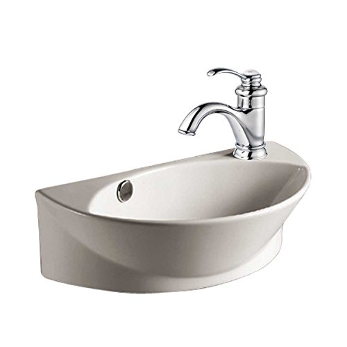 small white wall mount bathroom vessel sink with single faucet hole overflow scratch resistant finish
