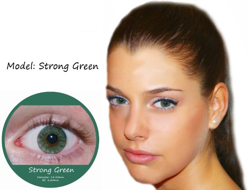 Farbige Kontaktlinsen Grün 3 Monatslinsen Contact lenses Design: Strong Green