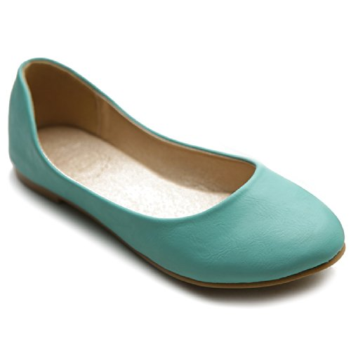Ollio Women's Shoe Ballet Basic Light Comfort Low Heel Flat(6 B(M) US, Mint)