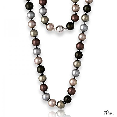18 in Sterling Silver 10mm Dark Multi-Colored Shell Pearls Magnet Lock Necklace