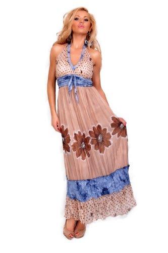 Astrapahl, sehr schönes sommerliches langes Kleid, Farbe braun, Gr. One Size