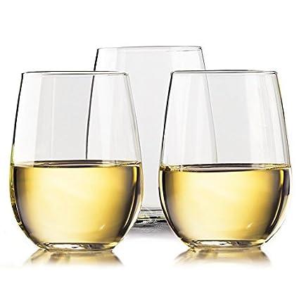 TaZa - Shatterproof Tritan Plastic Unbreakable Wine Glasses, Dishwasher-safe 16 oz., Set of 4