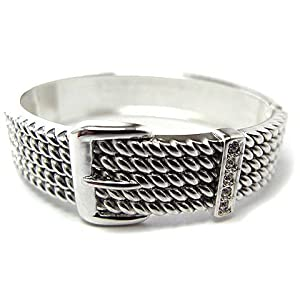 Silver-Tone and Crystal Cable Hinged Belt Buckle Cuff Bangle Bracelet