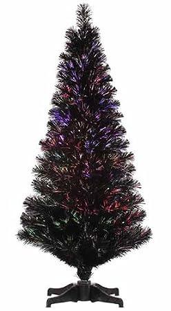 4' Pre-Lit Jet Black Fiber Optic Christmas Tree