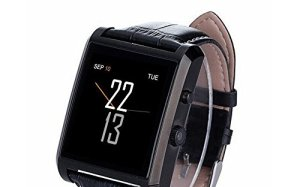 Luxsure Bluetooth 4.0 Smart Watch Waterproof Wrist Watch Phone with Camera Touch Screen and PU Leather Strap Band Smartwatch for IOS iPhone 6 6 plus Samsung Android Smartphones(Black)