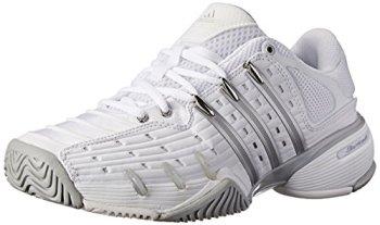 adidas Performance Women's Barricade V Classic W Tennis Shoe, White/Silver/Grey, 8 M US