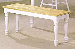 Coaster Country Style Dining Chair House Bench, Natural and White Finish