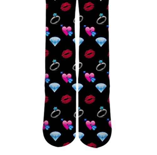 DopeSox Women's Diamond Emoji Sublimated Socks One Size (6-12) White