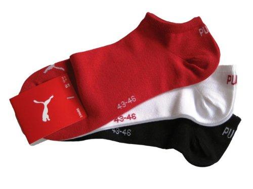 Puma Sneaker Socken 3Paar Unisex Invisible 251025 Gr. 39-42 rot,weiß,schwarz