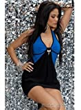 3692 - PROGRESS Neckholder Minikleid, Blau & Schwarz