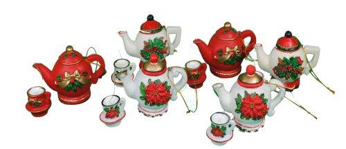 Set of 6 Teapots & Tea Cups Xmas Ornaments