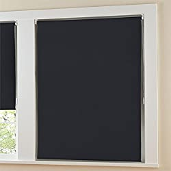 """Brylanehome Blackout Roller Shade With Beaded Chain (Black,33"""" W 64"""" L)"""