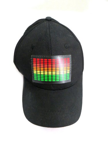 DJ-LED-Flashing-Sound-Activated-Equalizer-E-Q-Rave-Light-Up-Disco-Hat-Cap-One-Size