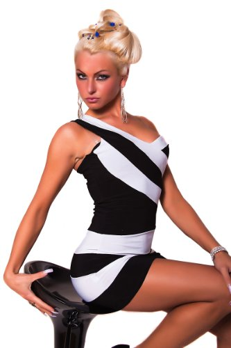 One Shoulder Stripes Party Minikleid