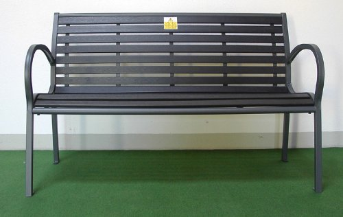 Gartenmöbel, Bank, Gartenbank, Sitzbank 2-Sitzer witterungsbeständig 125x60x80 cm Schwarz