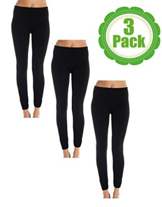 American-Casual-Womens-3-Pack-Fleece-Lined-Leggings-LargeX-Large-Black