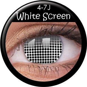 Fasching Kontaktlinsen Farbige Kontaktlinsen crazy Kontaktlinsen crazy contact lenses zombie White Screen / weiße Augen 1 Paar (2 Stück) incl. 60ml Kombilösung und Linsenbehälter!