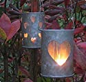 2 heart metal lanterns for t-light candles - great for romantic  vibe or wedding decorations
