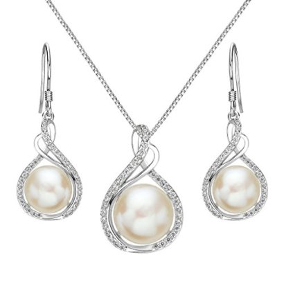 EleQueen-925-Sterling-Silver-CZ-Cream-Freshwater-Cultured-Pearl-Infinity-Bridal-Necklace-Hook-Earrings-Set-Clear