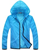 Z-SHOW Womens Super Lightweight Jacket Quick Dry Windproof Skin Coat-Sun Protection (Skyblue,XL)