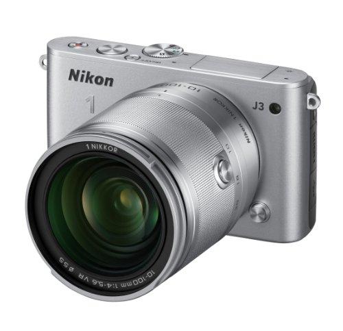 Nikon ミラーレス一眼 Nikon 1 J3 小型10倍ズームキット1 NIKKOR VR 10-100mm f/4-5.6付属 シルバー N1J310ZKSL