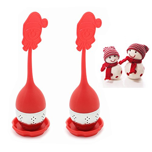 Zicome® Set of 2 Silicone Snowman Design Loose Tea Leaf Infuser Strainer with Drip Tray - Cute Silicone Handle As the Lid with Steel Ball