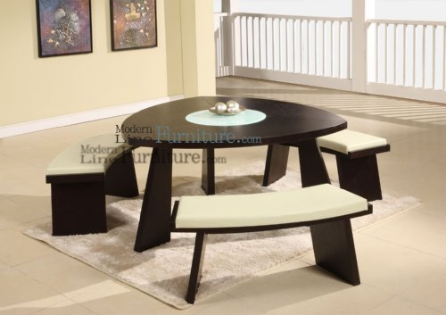 Modern Furniture Triangular Dining Table With A Swivel Mid Glass And 3 Beige Leather Match Benches Modern Dining Table