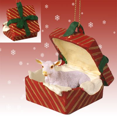White Goat Christmas Ornament Red Gift Box