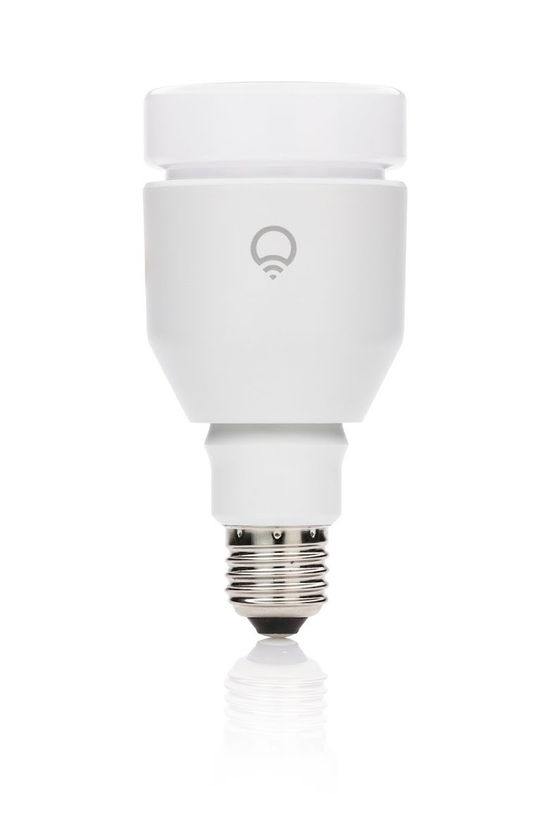 Amazon.com : LIFX WiFi Enabled Multicolor Dimmable LED Light Bulb These bulbs screw into traditional 'Edison' fixtures (like lamps), and are smartphone controllable over WiFi. Dimmable, color changeable and super geeky.