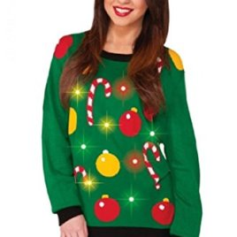 Adult Ugly Christmas Tis the Season Light Up Sweater – 3 Sizes – Med – XL