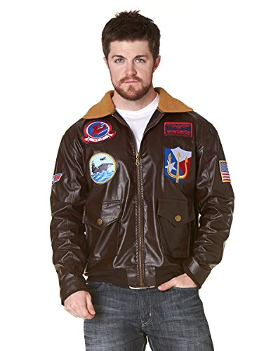 Spirit Halloween Adult Faux Fur-Trimmed Top Gun Bomber Jacket - Top Gun, XL, Brown