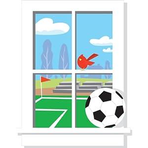 Soccer Practice Peel and Stick Window
