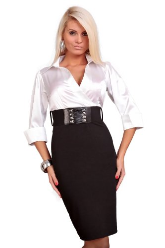 Astrapahl, Business Abendkleid,, lange Ärmel, mit Gürtel, Länge Knielang, Farbe schwarz-weiß