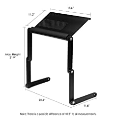 Furinno Adjustable Vented Laptop Table Laptop Computer Desk Portable Bed Tray Book Stand Multifuctional & Ergonomics Design Dual Layer Tabletop up to 17